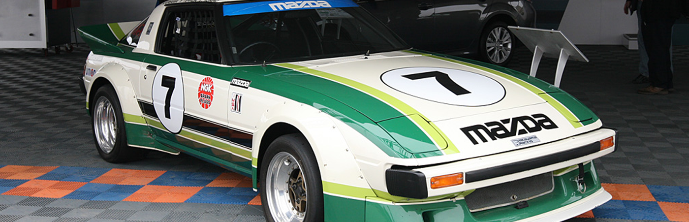 1980s Mazda RX-7 Racing with white, green