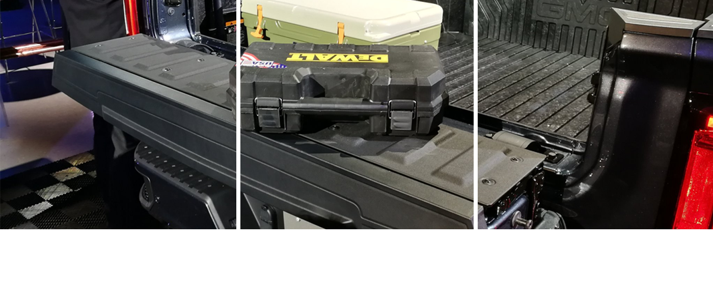 Multi-pro tailgate with toolbox and cooler