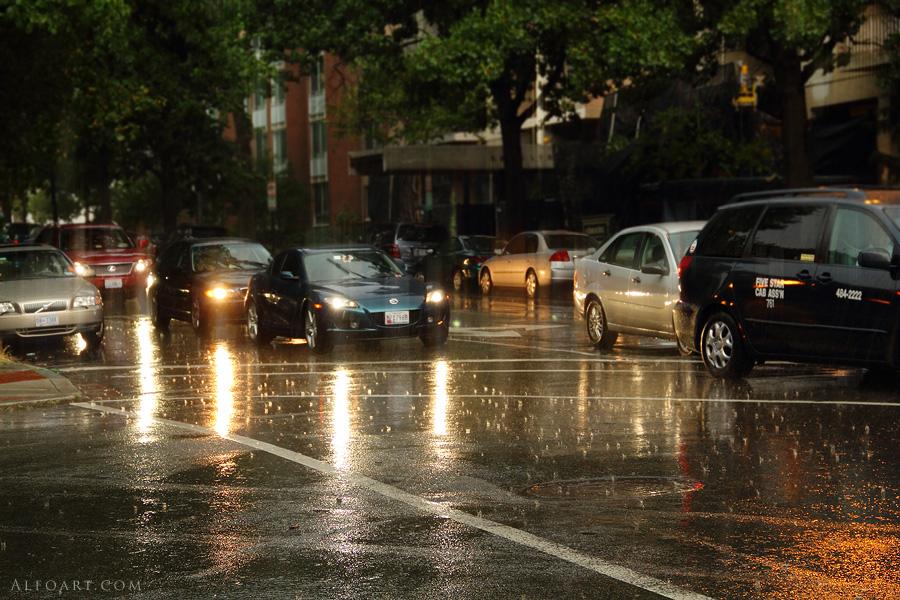 rainy roadwith cars