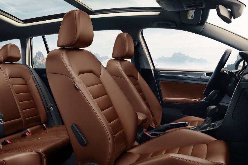 Brown Volkswagen Interior and Sunroof