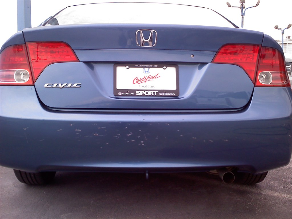 Honda Civic With Damage to Rear Bumper